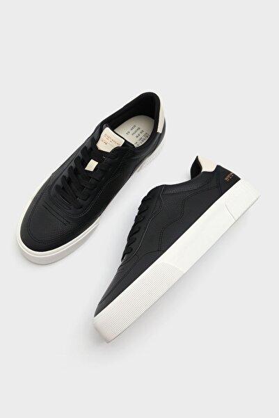 Bershka Erkek Siyah Yılan Derisi Görünümlü Kabartmalı Spor Ayakkabı