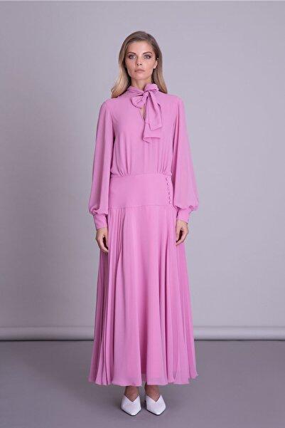 GIZIA CASUAL Kadın Pembe Uzun Kollu Fularlı Pembe Elbise
