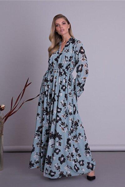 GIZIA CASUAL Kadın Mavi V Yaka Çiçek Desenli Uzun Elbise