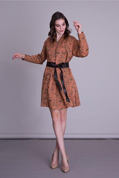 GIZIA CASUAL Kadın Kahverengi Deri Kemerli Mini Elbise