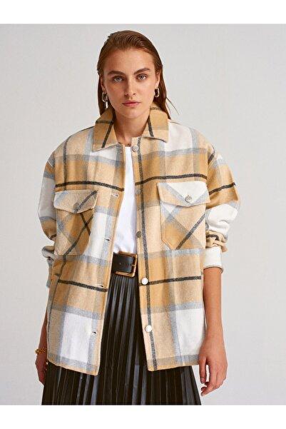 Dilvin Kadın Hardal Desenli Oduncu Gömlek