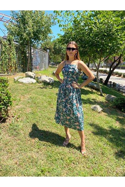 NİCE Kadın Yeşil Askılı Desenli Elbise
