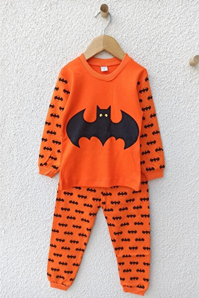 ALİSS Turuncu Batman Desenli Pijama Takımı 1-2-3 Yaş