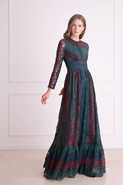 xGIZIA Kadın Mavi Güpür Dantel Detaylı Uzun Çok Renkli Elbise