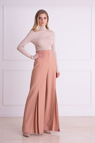xGIZIA Kadın Pudra Renk Bol Paça Kumaş Pantolon