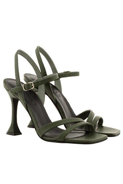 Nursace Kadın Haki Klasik Topuklu Ayakkabı