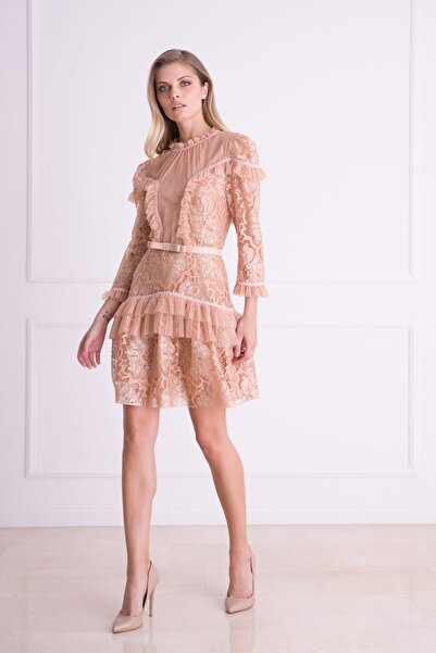 xGIZIA Kadın Somon Rengi Kemer Detaylı Dantel Mini Elbise