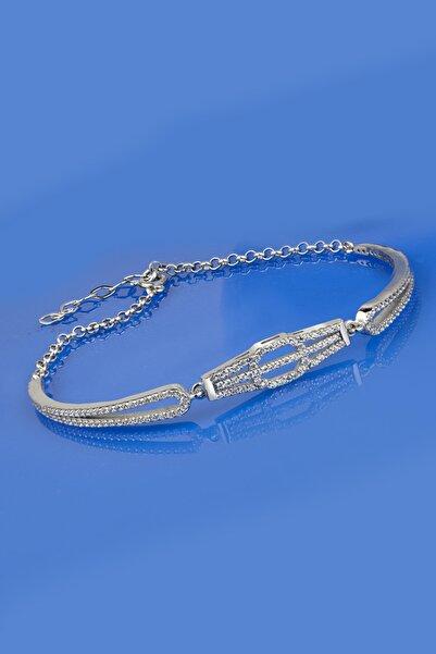 Else Silver Kadın Baget Taşlı Kaburga Kelepçe Modeli Gümüş Bileklik