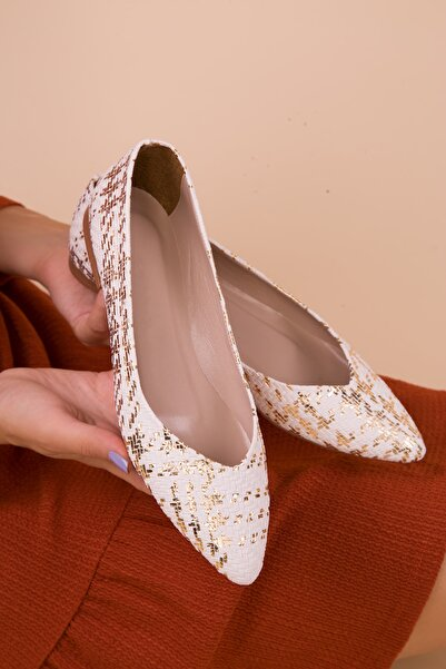 SOHO Beyaz-Gold Kadın Babet 15260