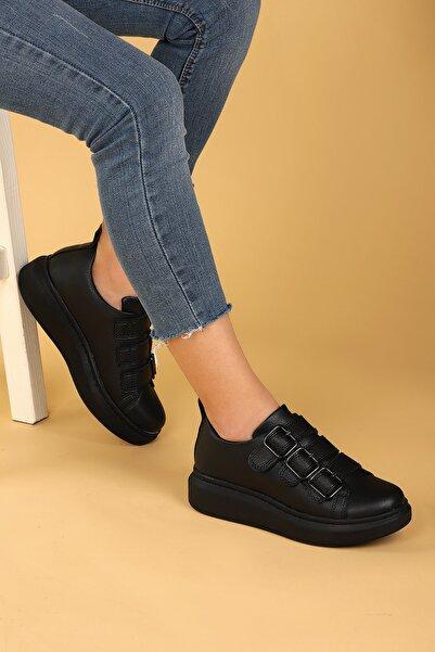 Ayakland Kadın Siyah Günlük Kemerli Spor Ayakkabı 101