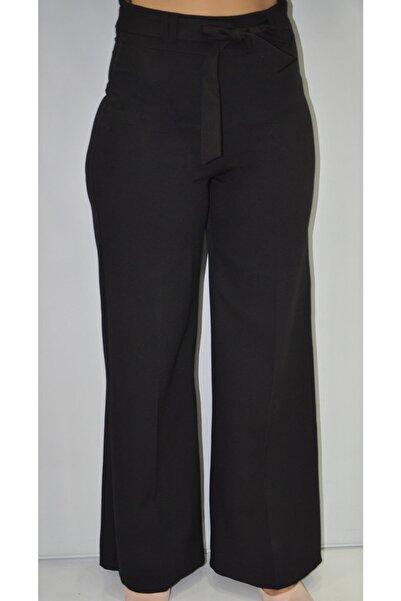 zeynep Kadın Siyah Bol Paça Kumaş Pantolon