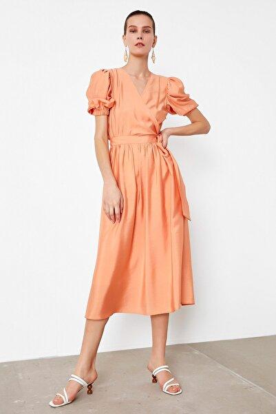 İpekyol Kadın Turuncu Balon Kol Elbise