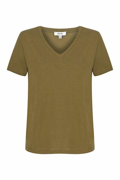 İpekyol Kadın Haki V Yaka Basic T-shirt