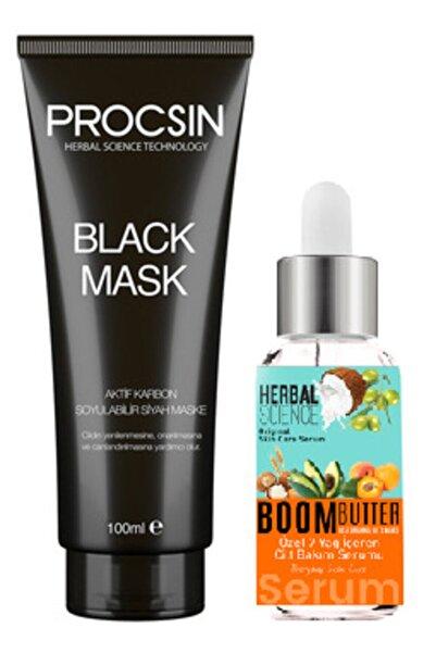 Procsin Aktif Karbonlu Soyulabilir Siyah Maske ve Boom Butter 7 Yağ Içeren Cilt Bakım Serumu 20 ml