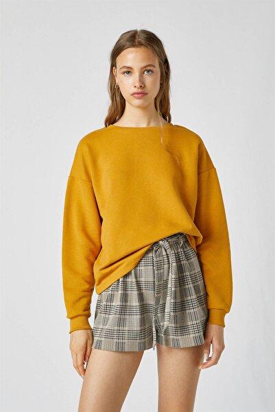 Pull & Bear Kadın Koyu Sarı Renkli Basic Sweatshirt 09596325