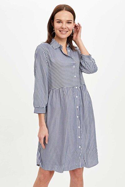 DeFacto Kadın Lacivert Çizgili Gömlek Elbise N8584AZ20AU