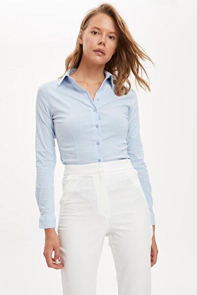 DeFacto Kadın Mavi Uzun Kollu Gömlek I5278AZ20AU