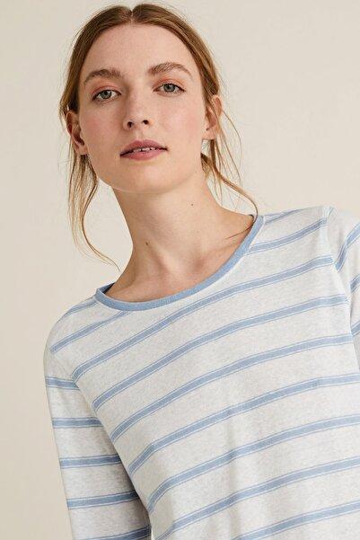 Marks & Spencer Kadın Mavi Keten Karışımlı Çizgili T-Shirt T41006571