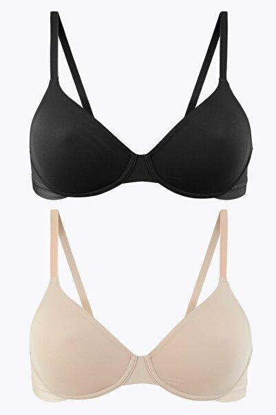 Marks & Spencer Kadın Bej 2'li Desteksiz Full Cup Sütyen Seti A-E T33002715