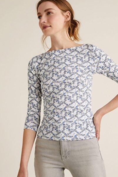 Marks & Spencer Kadın Bej Desenli Kayık Yaka T-Shirt T41004200