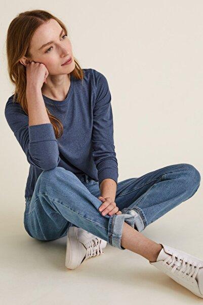 Marks & Spencer Kadın Mavi Keten Karışımlı Uzun Kollu T-Shirt T41006541