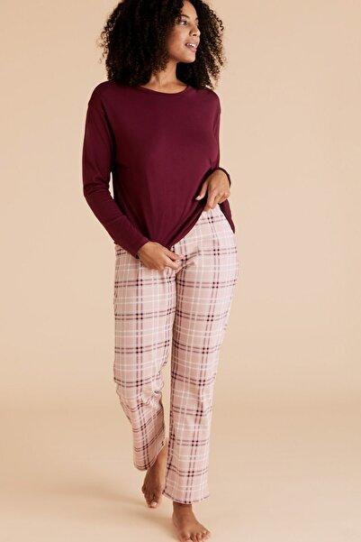 Marks & Spencer Kadın Mor Saf Pamuklu Ekose Pijama Takımı T37004409F