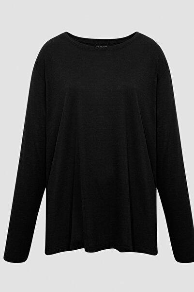 Marks & Spencer Kadın Siyah Relaxed Uzun Kollu T-Shirt T41004770H