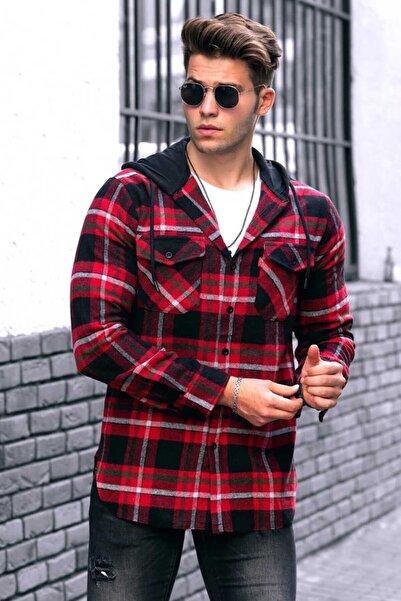 Madmext Erkek Kırmızı Ekoseli Kapüşonlu Gömlek 4906