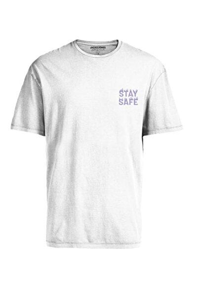 Jack & Jones Erkek Beyaz Bisiklet Yaka Jorkeep T-shirt 12189118