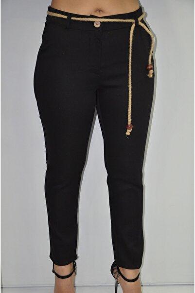 zeynep Kadın Siyah Hasır Kuşaklı Gabardin Pantolon