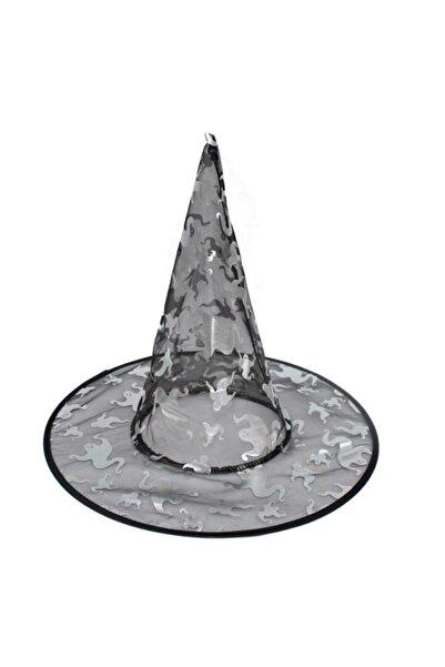 Pandoli Siyah Hayalet Desenli İnce Tül Cadı Şapkası
