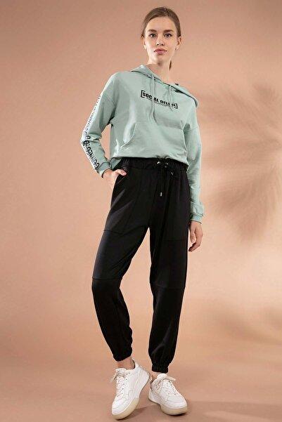 Y-London Kadın Siyah Torba Cep Detaylı Paçası Lastikli Eşofman Altı Y20W166-3885