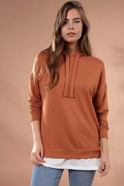 Y-London Kadın Taba Etek Ucu Tişört Detaylı Sweatshirt Y20W175-9322
