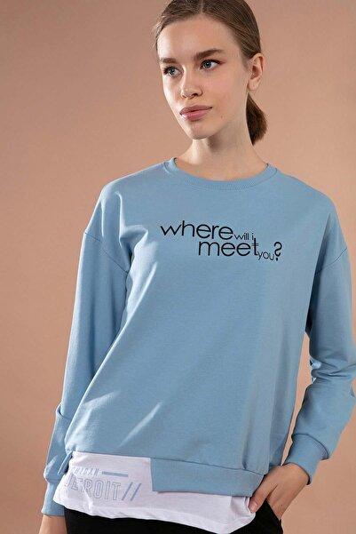Y-London Kadın Açık Mavi Asimetrik Kesim Etek Ucu Tişört Detaylı Sweatshirt Y20W167-7605