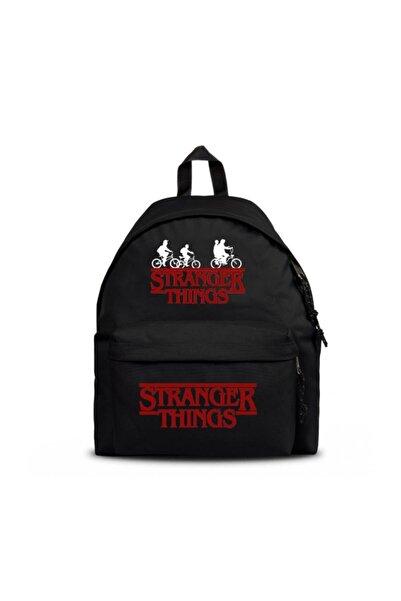 Köstebek Stranger Things Bisiklet Logo Siyah Sırt Çantası