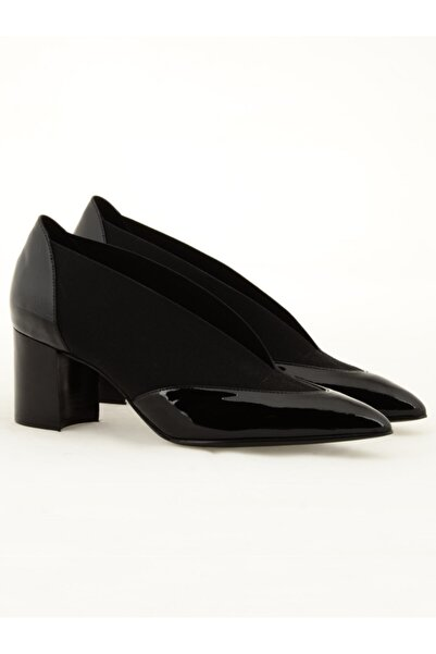 Nursace A60595 Kadın Siyah  Klasik Topuklu Ayakkabı