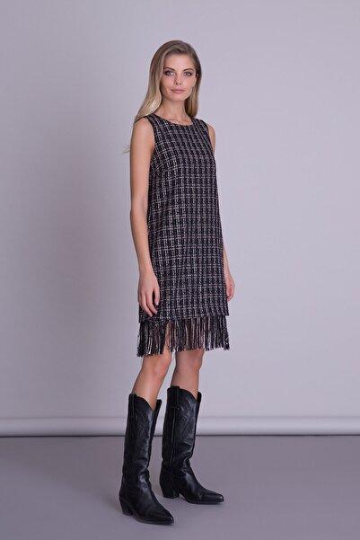 GIZIA CASUAL Kadın Siyah Etek Ucu Püskül Detaylı Mini Tweed Elbise