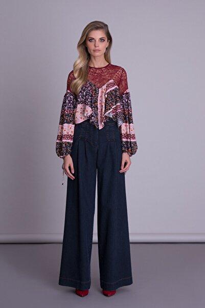 GIZIA CASUAL Kadın Lacivert Bol Paça Denim Kumaş Pileli Pantolon