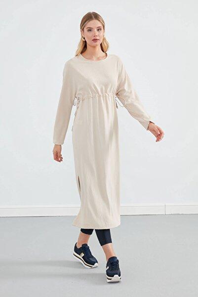 Journey Kadın Bej Sıfır Yaka Belden Büzgülü Yanlardan Bağlama Detaylı Uzun Kol Elbise
