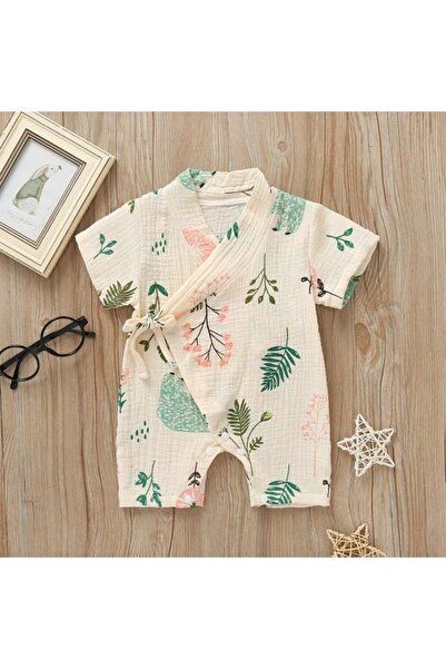 MAYA BABY Bebek Krem %100 Pamuk Kimono Tulum