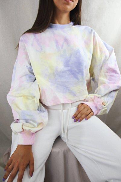 Kadın Beyaz Batik Crop Sweatshirt