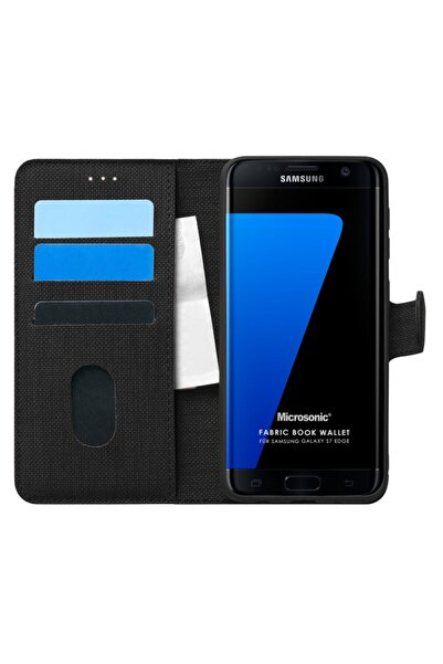 Microsonic Samsung Galaxy S7 Edge Kılıf Fabric Book Wallet Siyah