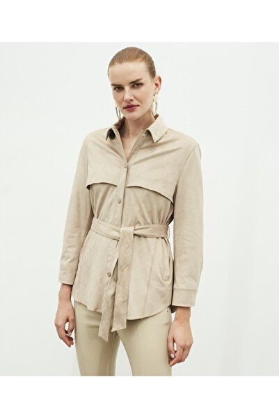 İpekyol Kadın Bej Süet Form Kuşaklı Ceket