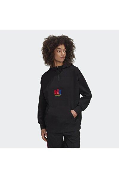 adidas Kadın Siyah Halfzıp Hoodıe  Spor Sweatshirt