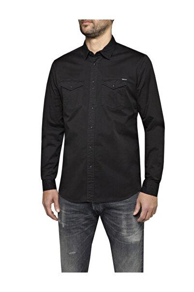 Replay Erkek Siyah Garment Dyed Comfort Twıll Gömlek