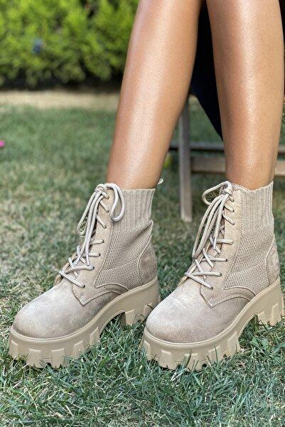İnan Ayakkabı Kadın Bej Kalın Taban Kenardan Lastikli Bot