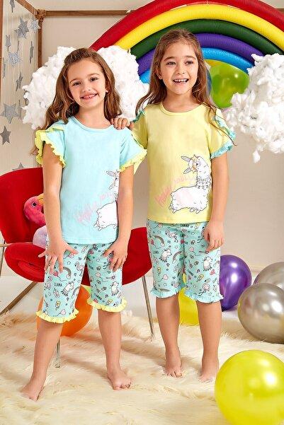 Lohusa Sepeti Kız Çocuk Mint Yeşili Gökkuşağı Kapri Pijama Takımı 0062 Yaş 3-9
