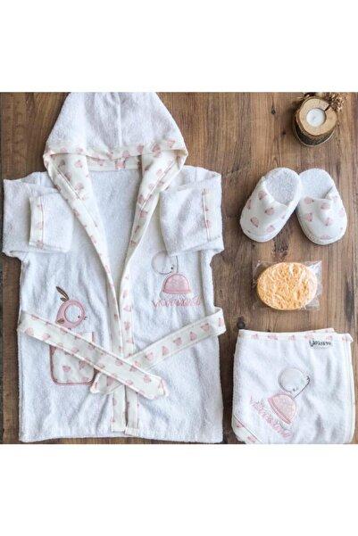 Bebitof Baby Bebitof Kız Bebek Havlu Bornoz Seti 10030013 - Bebek Doğum Hediyesi
