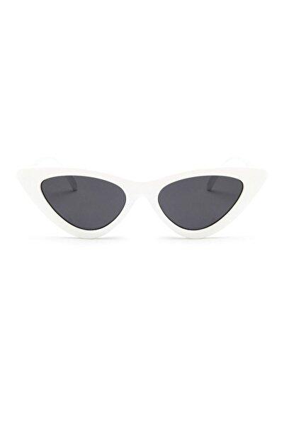 Kinary Kadın Beyaz Retro Üçgen Güneş Gözlüğü