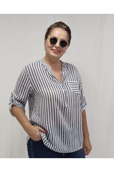 Apex Kadın Beyaz Çizgili Gömlek